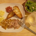 家呑み献立 9/6 塩豚とレンコンのソテー、小松菜オイル蒸しなど。
