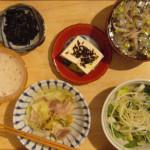 家呑み献立 9/9 塩豚、キャベツ、セロリ、きのこ、豆腐で酒肴。