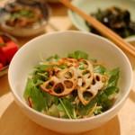 家飲み献立 9/17 三つ葉と豆腐のサラダ、わかめ炒め他全5品。