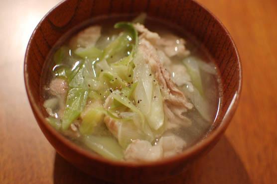 白葱と豚肉のスープ 141228d3
