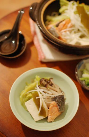 豚肉と白菜の重ね煮 キャベツと塩鮭の昆布蒸し鍋献立 150114d5