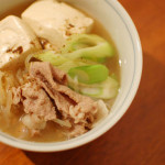 家飲み献立 1/29 肉豆腐、白菜のスープ。