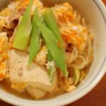 肉豆腐の卵とじ、白菜とツナの温サラダ。