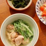 鶏と水菜の酒蒸し、トマト納豆。