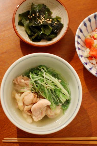 鶏と水菜の酒蒸し 献立
