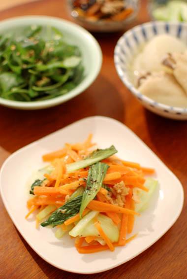 にんじんと青梗菜のツナ炒め 献立