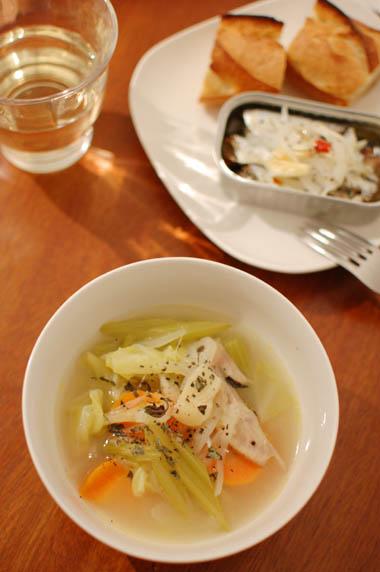 野菜スープ 白ワイン 献立