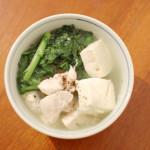 鶏豆腐、セロリ卵の家飲み献立。