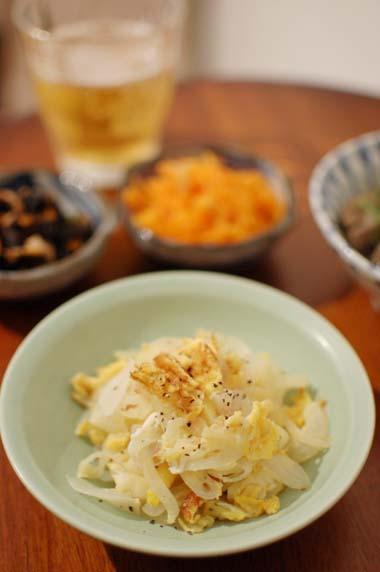 新玉ねぎと卵の炒め物