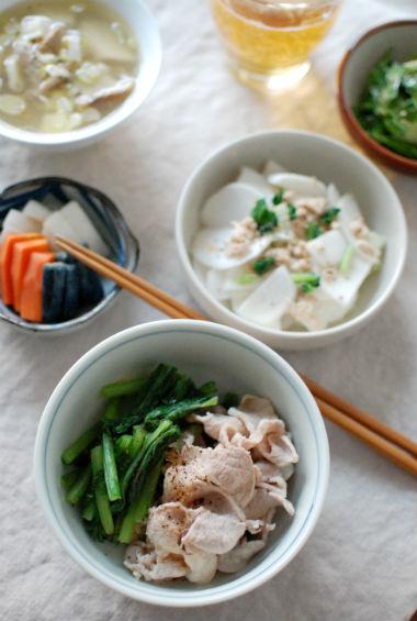 蕪と豚の生姜ポン酢和え献立