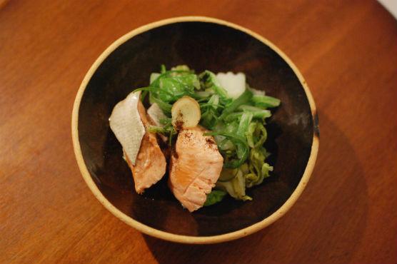 秋鮭と白菜の酒蒸し