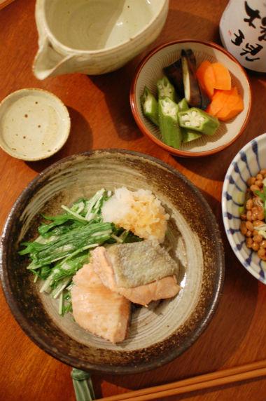 秋鮭の蒸し焼き おろしポン酢