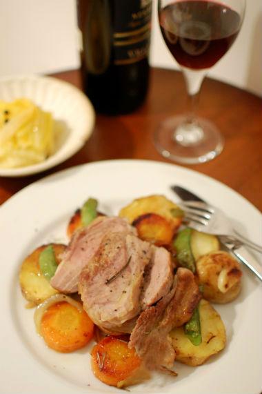 豚肉と野菜のフライパンロースト献立