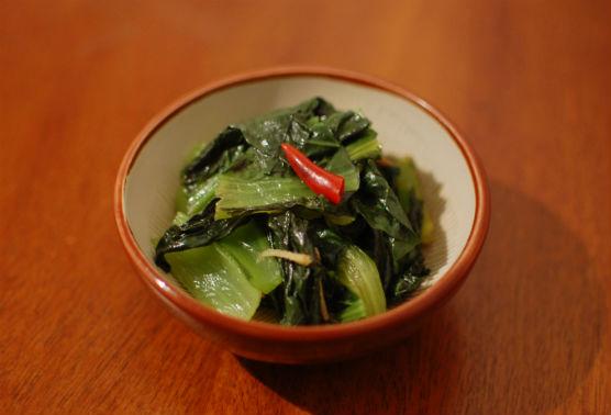小松菜のしょうがオイル蒸し