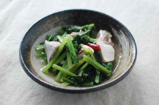 鰤と小松菜の香味蒸し