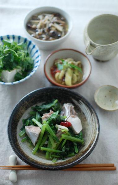 鰤と小松菜の酒蒸し献立