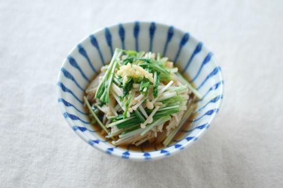 えのきと水菜の生姜ポン酢和え