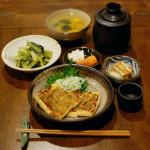 きつね葱味噌焼き、小松菜のオイル蒸し献立。
