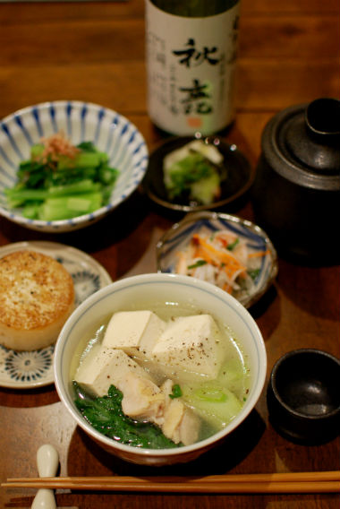 鶏豆腐で晩酌