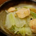 塩鮭と白菜の酒蒸し、ゆずかぶらで晩酌。