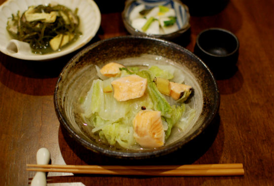 塩鮭と白菜の蒸し煮