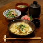 白菜の卵とじ、インゲンと豚肉のごまマヨネーズ和え献立。