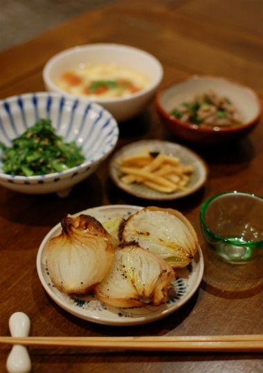 玉ねぎのグリル、砂肝ポン酢で家飲み