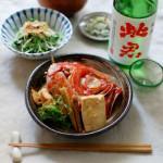 金目鯛のかぶと煮、水菜ときのこのおひたし献立。
