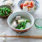 塩豚と蕪のスープ煮、ネギ塩トマト豆腐献立。