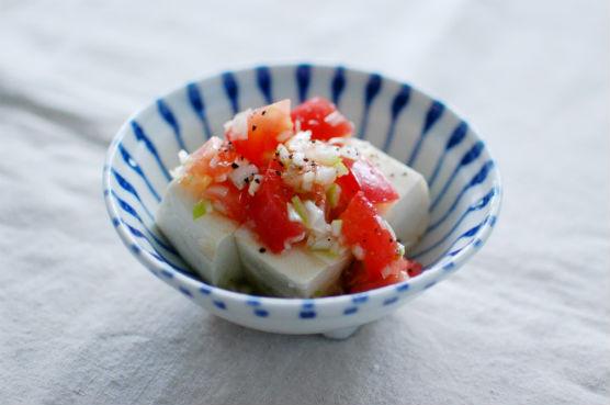 ネギ塩トマト豆腐