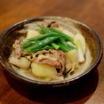 葉玉ねぎと新じゃがの塩煮、水菜とえのきの煮びたし献立。