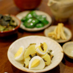 新じゃがとゆで卵の葱油和え、焼きピーマン献立。