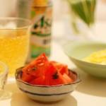 家飲み献立 9/16 白葱の卵焼き、砂肝のポン酢漬け他全5品で晩酌。