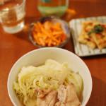 家飲み献立 10/31 半干しキャベツと鶏もも肉の煮込み他全5品。