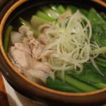 家飲み献立 豚と小松菜で常夜鍋。