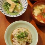 家飲み献立 12/2 鶏肩肉の香味ダレ、白菜とツナの蒸し煮他全5品。