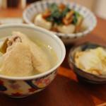家飲み献立 12/20 塩手羽大根、なめこ湯豆腐。