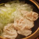 家飲み一人鍋 1/12 豚肉と葱のしゃぶしゃぶ