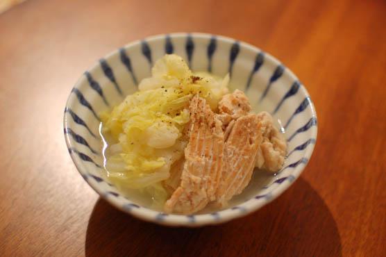鮭の中骨水煮缶と白菜のあっさり煮物 レシピ 150126d3