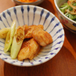 鶏のくわ焼き、豆腐と三つ葉のサラダ。
