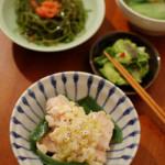 家飲み献立 2/17 蒸し鶏の葱塩ダレ、青梗菜と生姜のスープ。