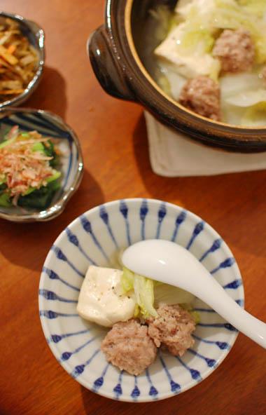 肉団子と白菜の蒸し鍋 献立