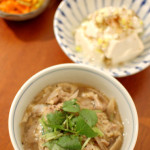豚と牛蒡の柳川風、白菜の生姜煮浸し。