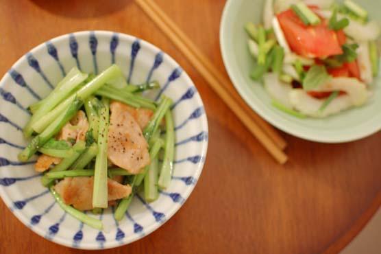 塩豚と蕪の葉の炒め物