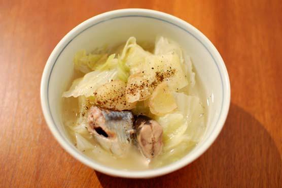 秋刀魚とキャベツの煮物