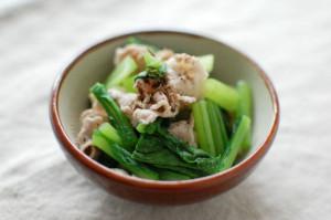 蕪の葉と豚肉の和え物
