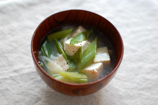 豆腐とネギのスープ