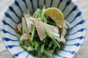 水菜とエリンギの塩ポン酢和え