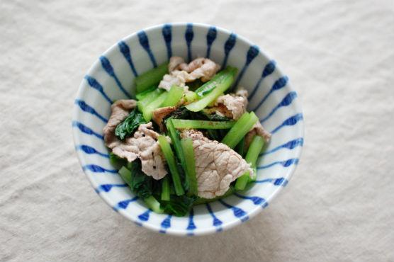 小松菜と豚肉の和え物