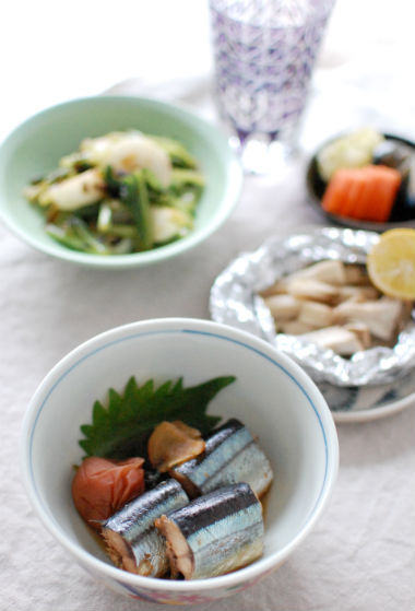 秋刀魚の梅煮 献立